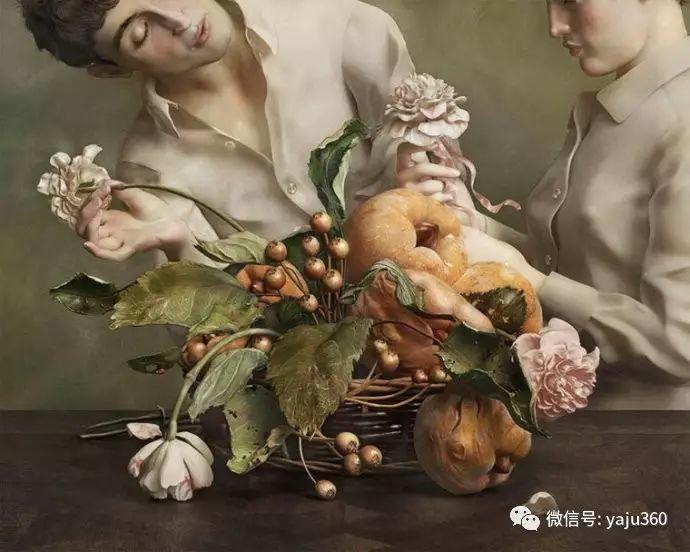现代感觉的古典写实绘画作品 包菜和萝卜插图1