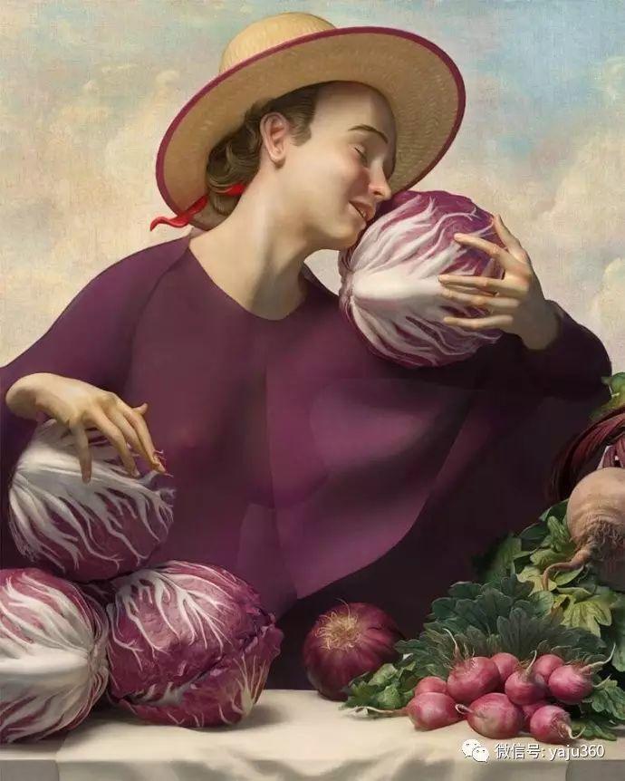现代感觉的古典写实绘画作品 包菜和萝卜插图3