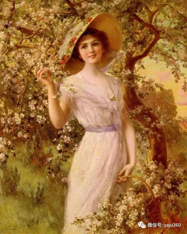 法国学院派画家Emile Vernon女性人物油画插图1