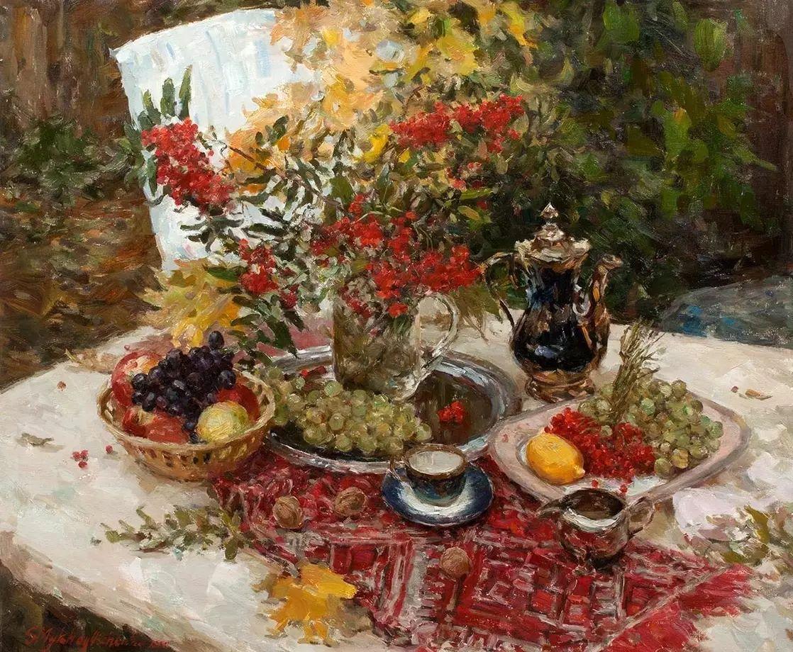 乌克兰谢尔盖·米克尔油画花卉作品插图1