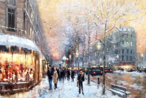 油画世界 油画街景插图37