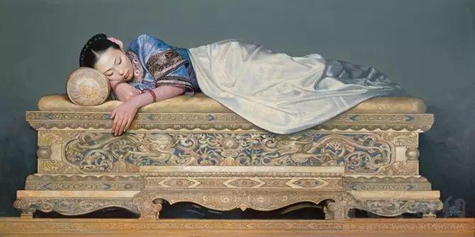 人物油画:睡美人插图1