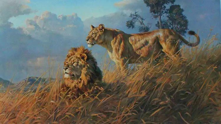 油画世界 英国艾伦·亨特猛兽动物画插图3