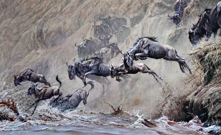 油画世界 英国艾伦·亨特猛兽动物画插图51