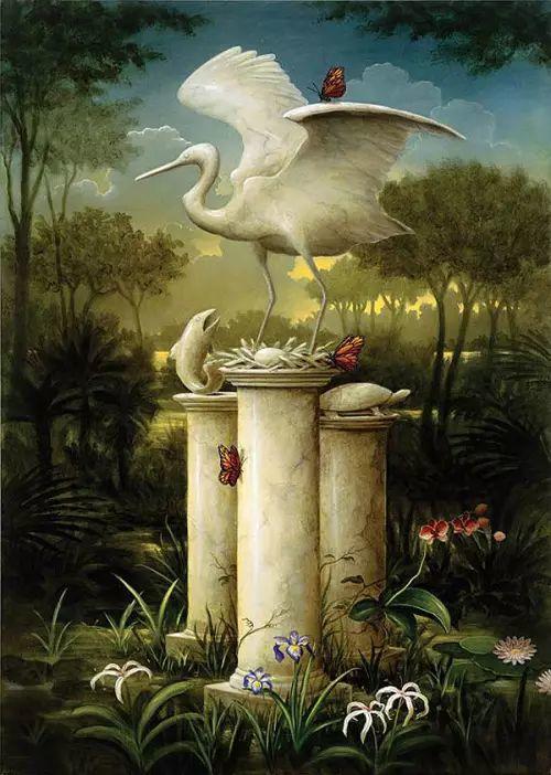 以鹤为题材的油画|Kevin Sloan插图1