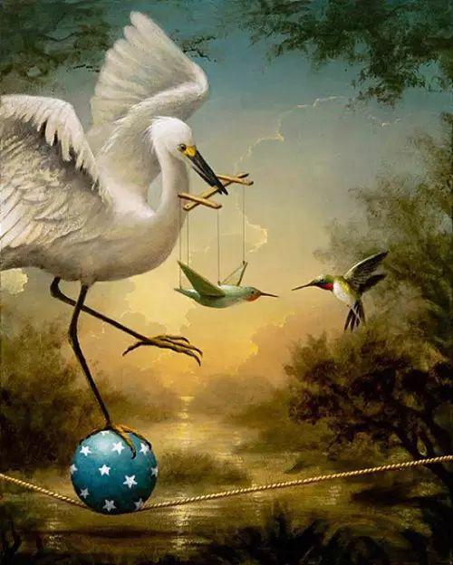 以鹤为题材的油画|Kevin Sloan插图11