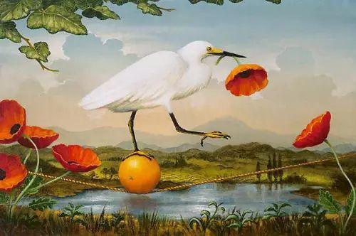 以鹤为题材的油画|Kevin Sloan插图13