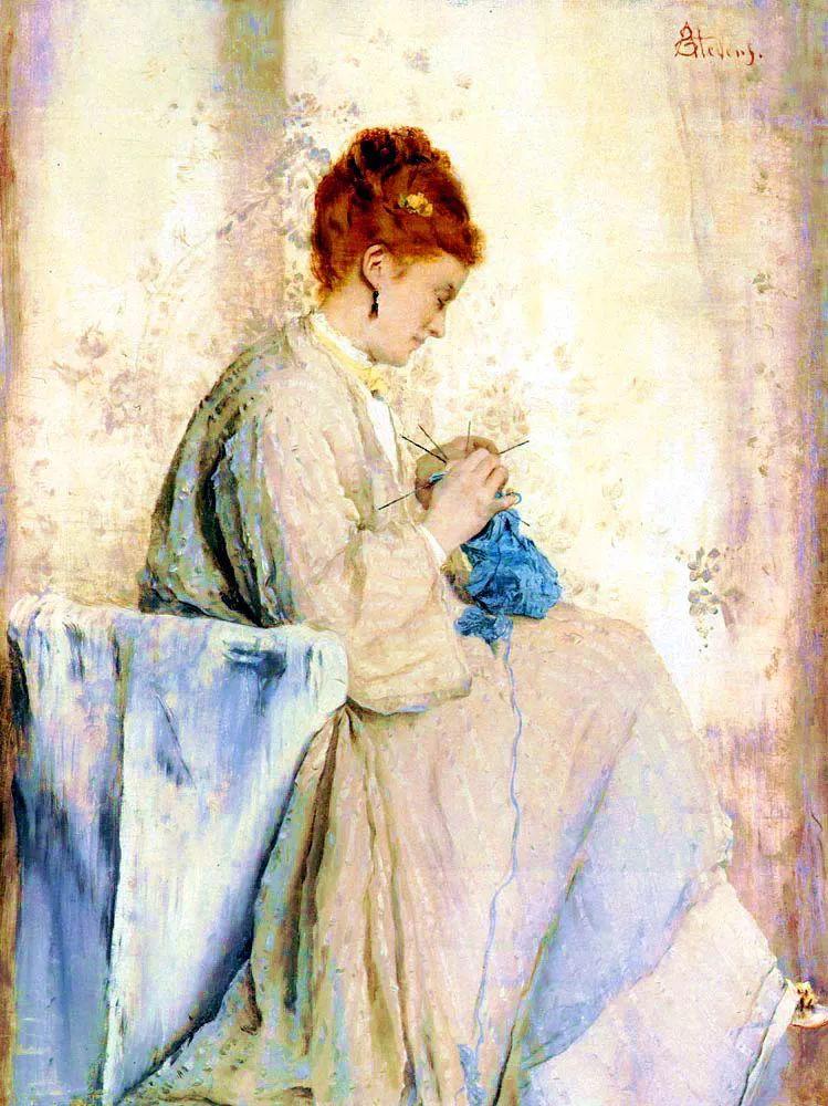 当代女性绘画 比利时画家Alfred Stevens作品插图17