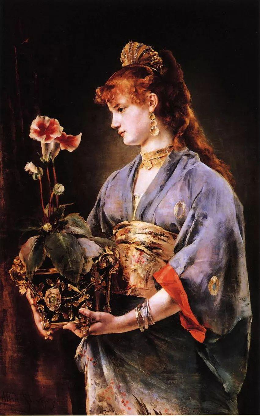 当代女性绘画 比利时画家Alfred Stevens作品插图21