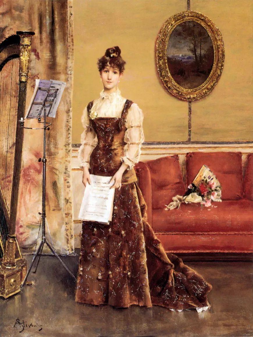 当代女性绘画 比利时画家Alfred Stevens作品插图61