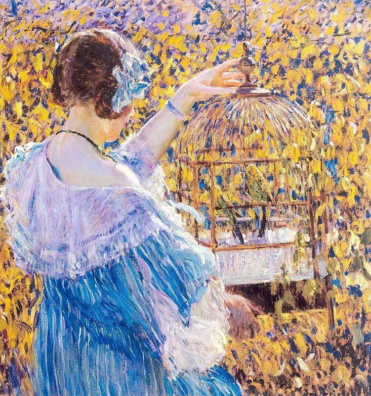 阳光下的女孩 美国画家Frederick Carl Frieseke作品插图1