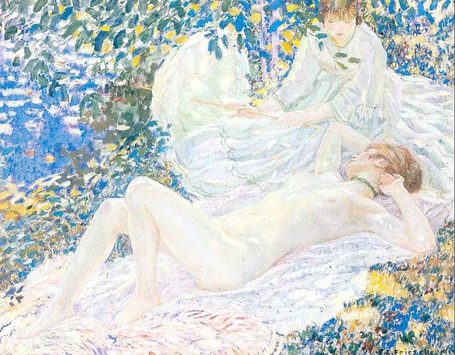 阳光下的女孩 美国画家Frederick Carl Frieseke作品插图3