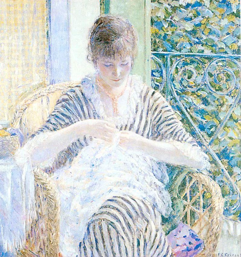 阳光下的女孩 美国画家Frederick Carl Frieseke作品插图9