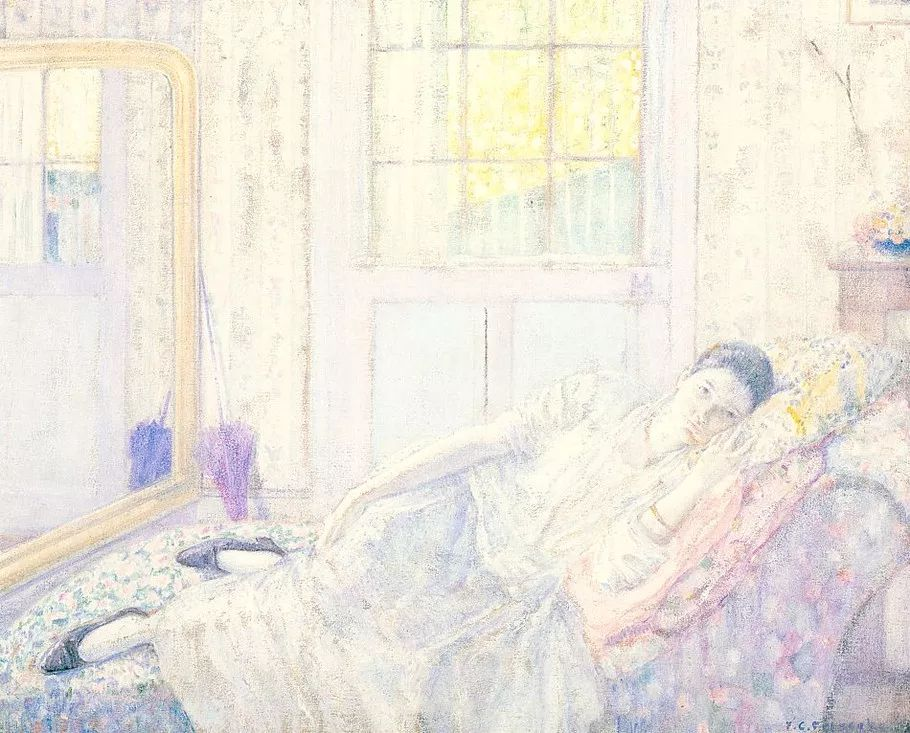 阳光下的女孩 美国画家Frederick Carl Frieseke作品插图15