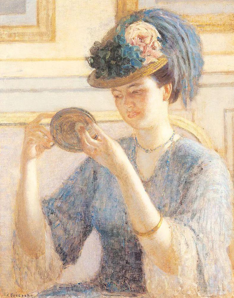 阳光下的女孩 美国画家Frederick Carl Frieseke作品插图39