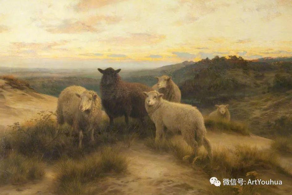 牛羊风景油画欣赏 英国画家Henry William Banks Davis插图3