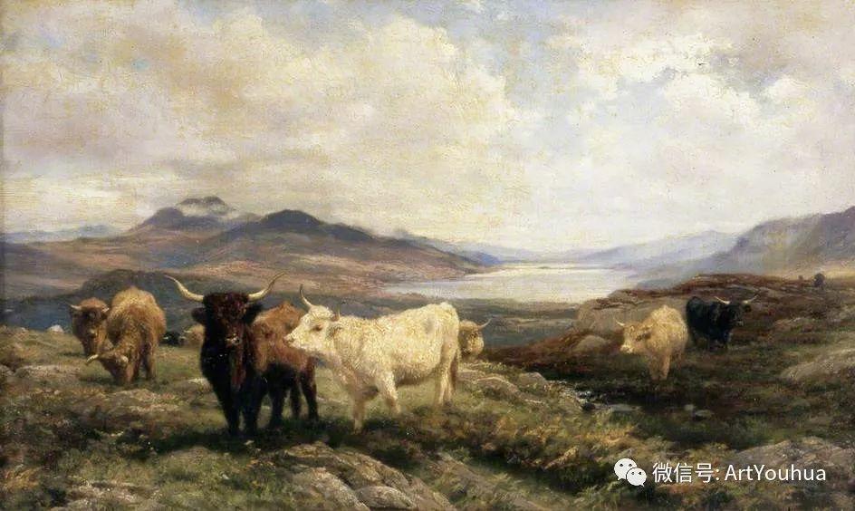 牛羊风景油画欣赏 英国画家Henry William Banks Davis插图5