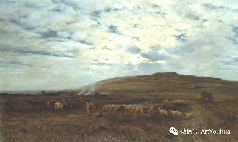 牛羊风景油画欣赏 英国画家Henry William Banks Davis插图7
