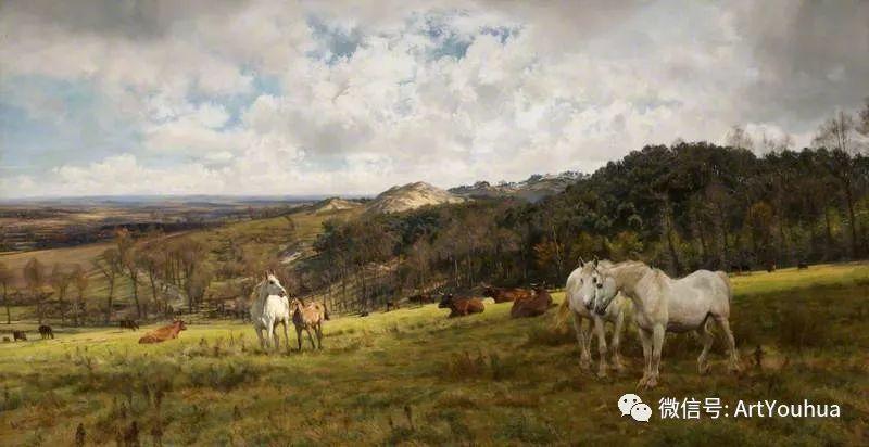 牛羊风景油画欣赏 英国画家Henry William Banks Davis插图9