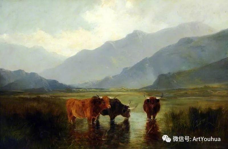 牛羊风景油画欣赏 英国画家Henry William Banks Davis插图13