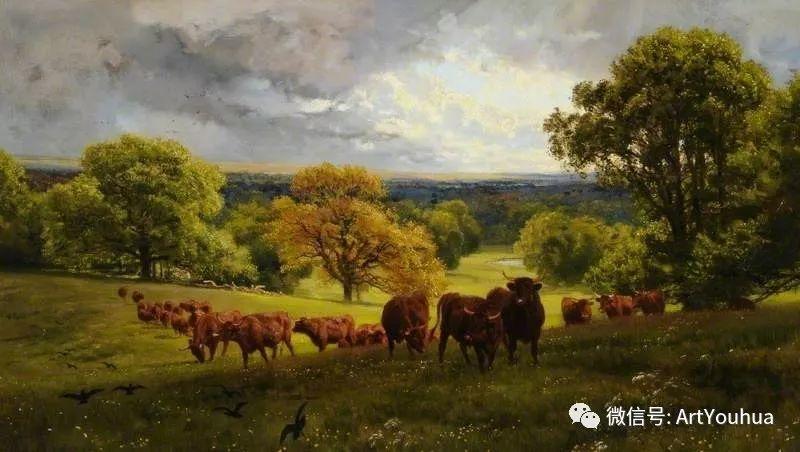 牛羊风景油画欣赏 英国画家Henry William Banks Davis插图19