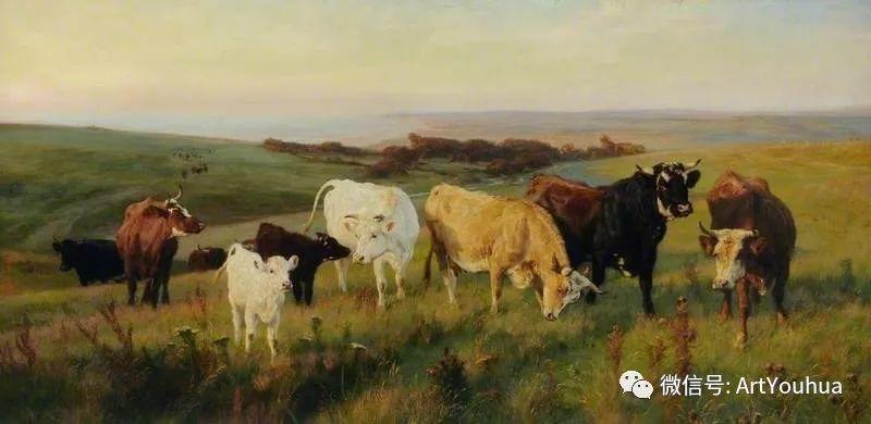 牛羊风景油画欣赏 英国画家Henry William Banks Davis插图21