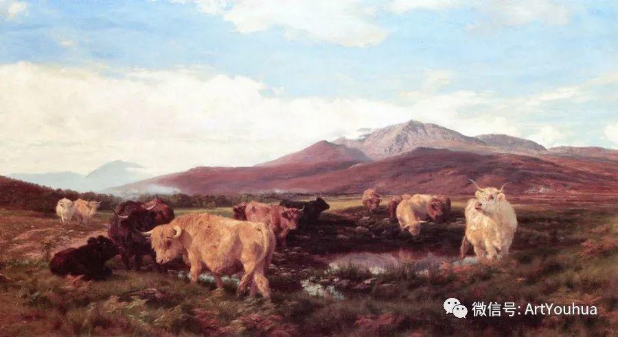 牛羊风景油画欣赏 英国画家Henry William Banks Davis插图29
