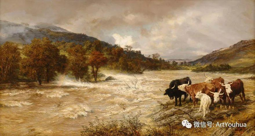 牛羊风景油画欣赏 英国画家Henry William Banks Davis插图31