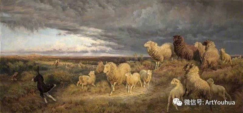 牛羊风景油画欣赏 英国画家Henry William Banks Davis插图33