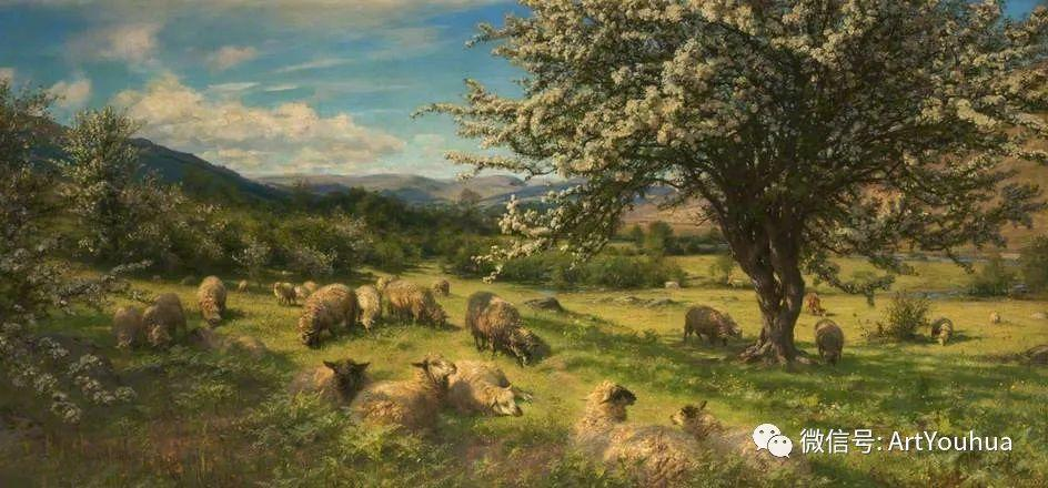 牛羊风景油画欣赏 英国画家Henry William Banks Davis插图39
