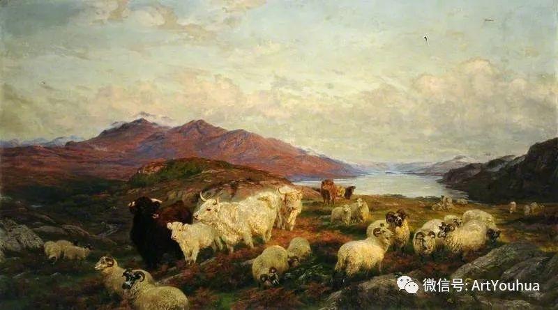 牛羊风景油画欣赏 英国画家Henry William Banks Davis插图43