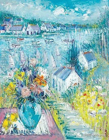 蓝色调风景油画  法国画家Yolande Ardissone插图7