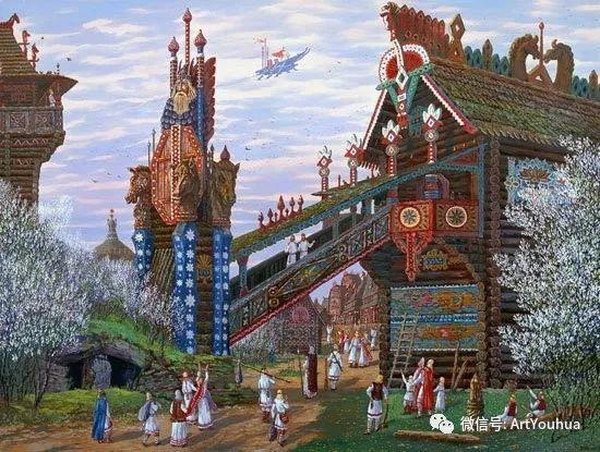 民俗场景和神话绘画 俄罗斯Vsevolod Ivanov作品插图23