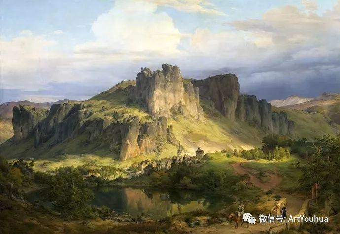 风景人物油画 德国Karl Friedrich Lessing作品插图1