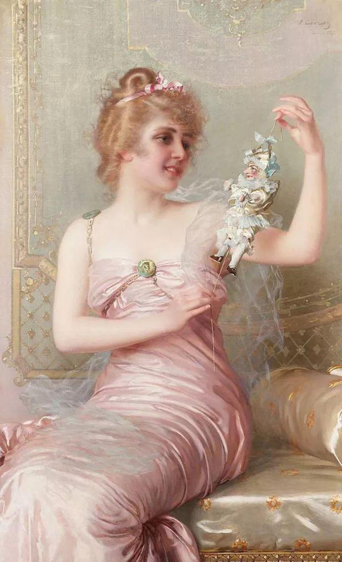 女性肖像油画 意大利Vittorio Matteo Corcos插图1