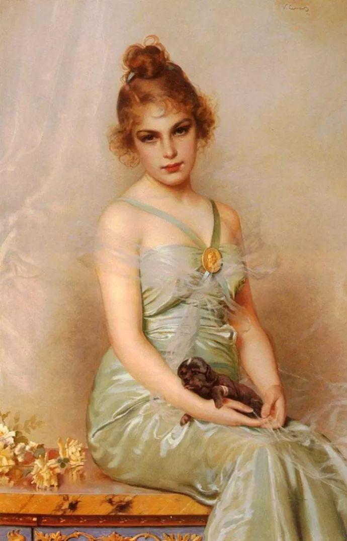 女性肖像油画 意大利Vittorio Matteo Corcos插图4