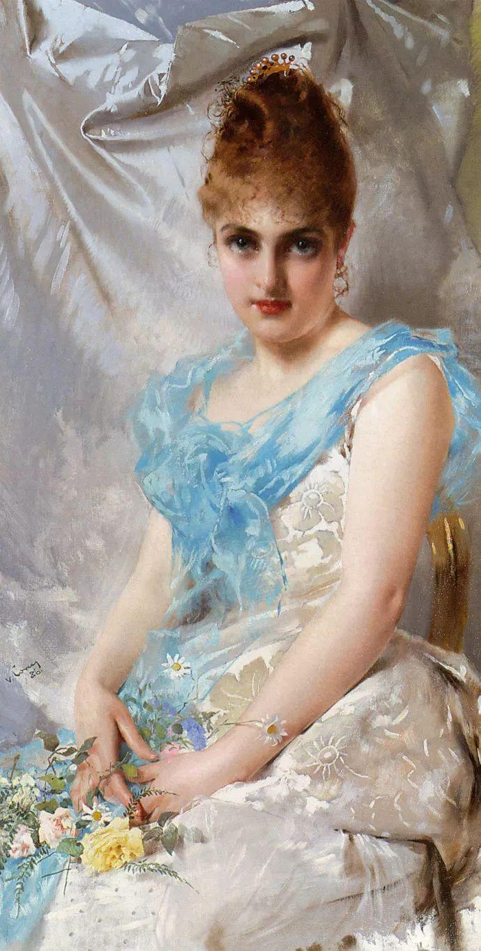 女性肖像油画 意大利Vittorio Matteo Corcos插图9