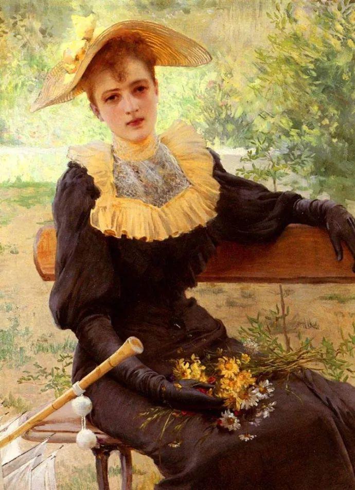女性肖像油画 意大利Vittorio Matteo Corcos插图14