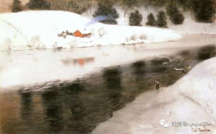 风景油画 挪威Fredrik Thaulow作品插图7