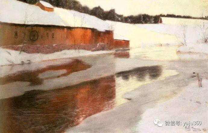风景油画 挪威Fredrik Thaulow作品插图22
