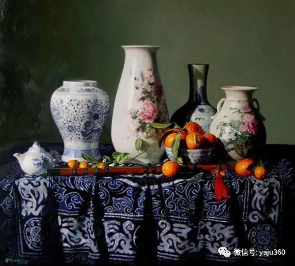 油画世界:蓝花布和青花瓷插图1