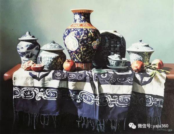 油画世界:蓝花布和青花瓷插图3