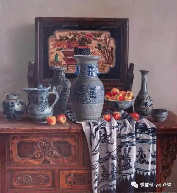 油画世界:蓝花布和青花瓷插图15