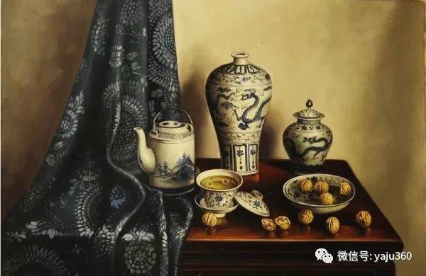 油画世界:蓝花布和青花瓷插图17