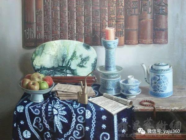 油画世界:蓝花布和青花瓷插图21