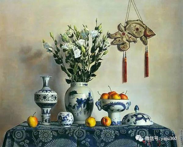 油画世界:蓝花布和青花瓷插图25