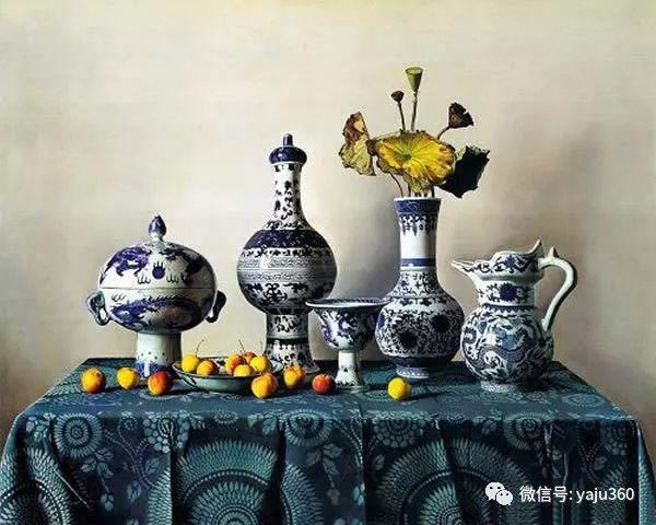 油画世界:蓝花布和青花瓷插图27