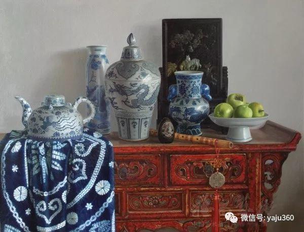 油画世界:蓝花布和青花瓷插图33