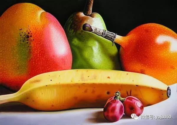 超写实的花卉和水果绘画作品插图1