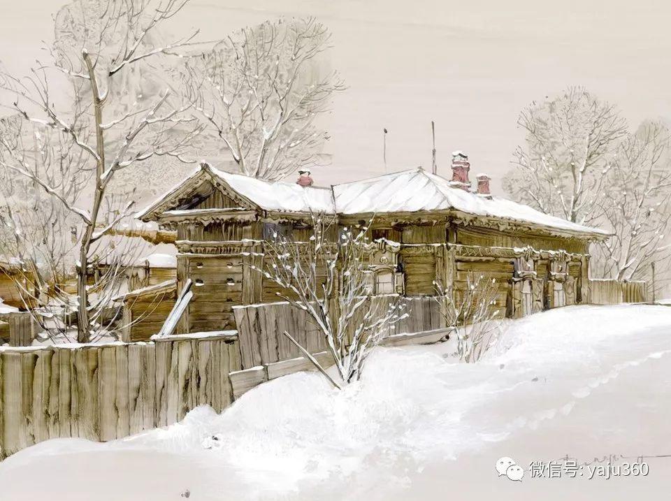 油画世界:俄罗斯的雪景油画欣赏插图3